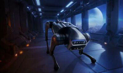 xiaomi cyberdog robotic dog in a hallway at night