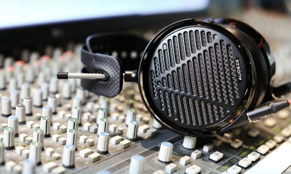 audeze lcd-5 reference planar headphones on mixing desk