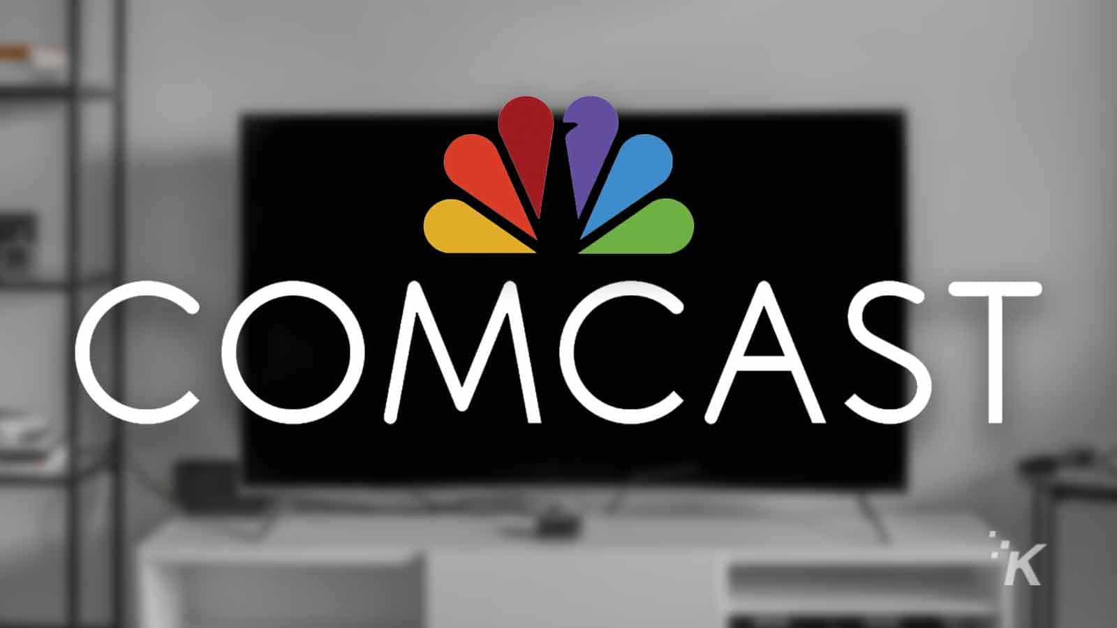 comcast logo with blurred tv background