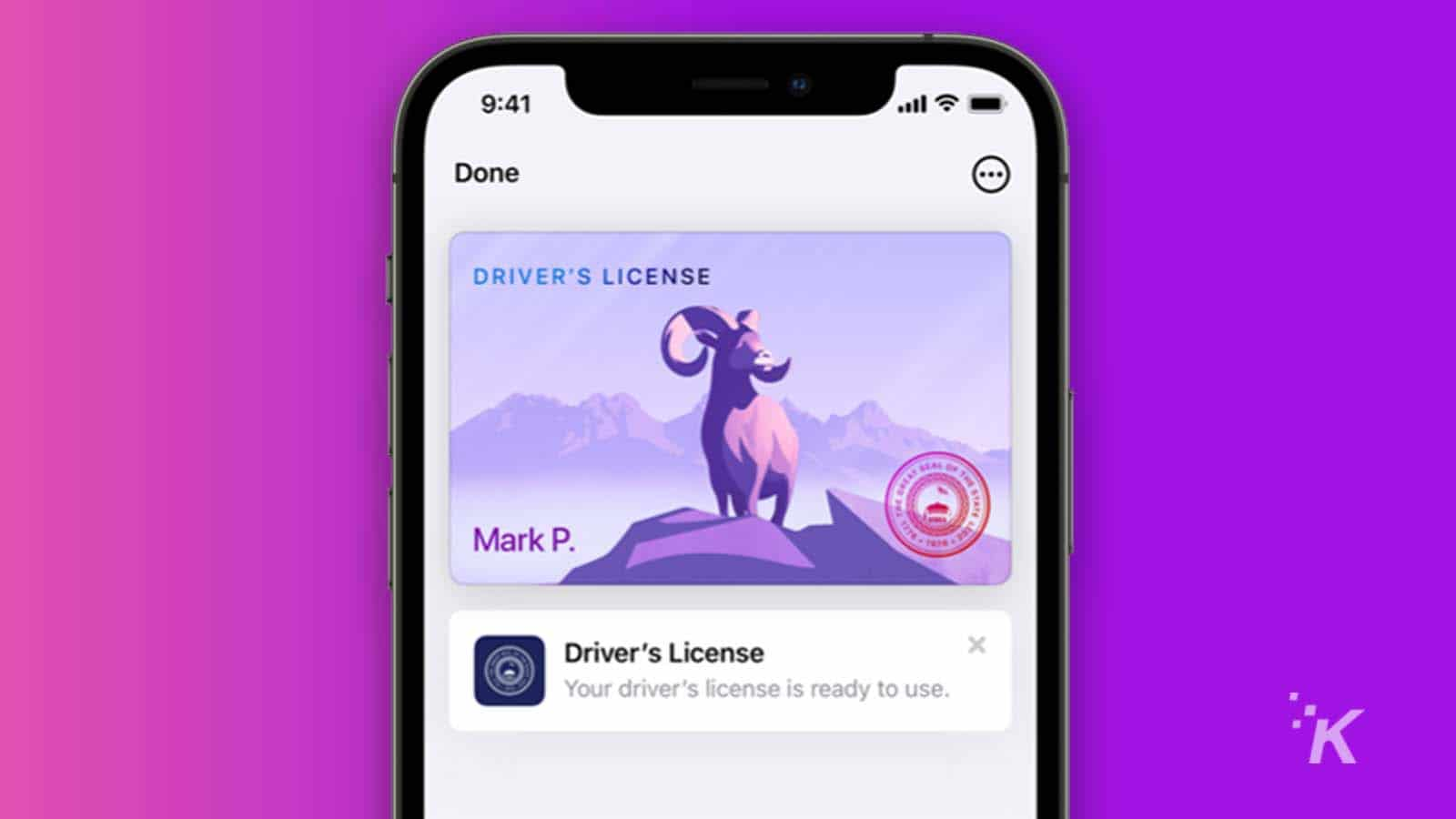 a driver's license stored on an iphone
