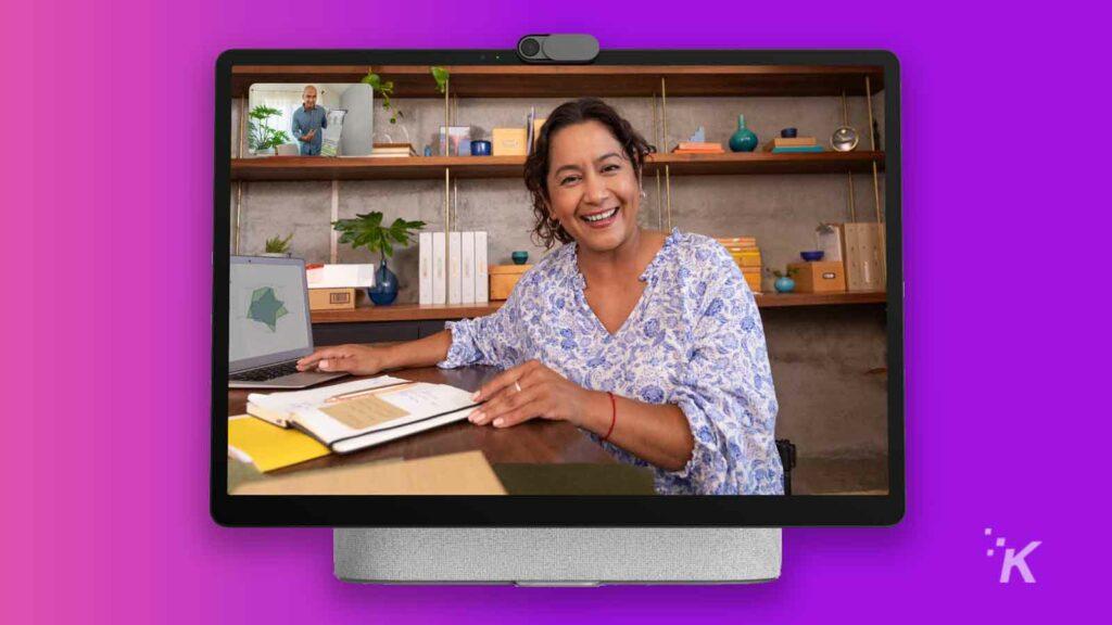 facebook portal plus on purple background