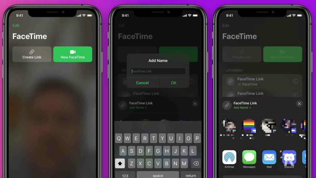 starting a facetime call between ios and android