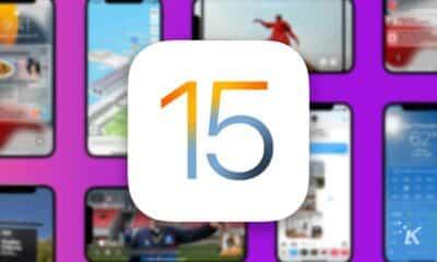 ios 15 logo on blurred background