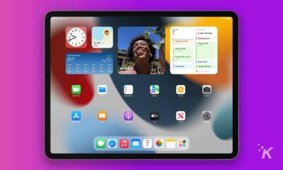 ipad on purple background
