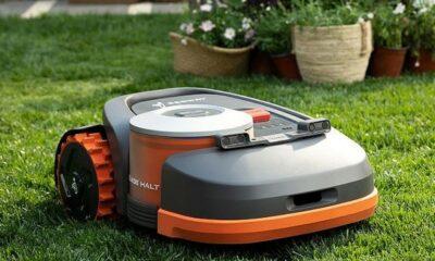 segway navimow robotic lawnmower on a lawn