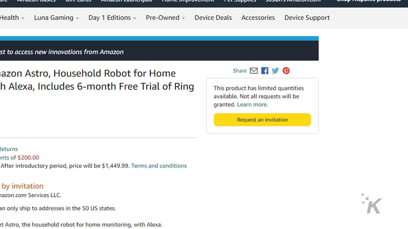 how to order amazon astro robot