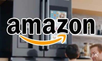 amazon smart fridge with logo