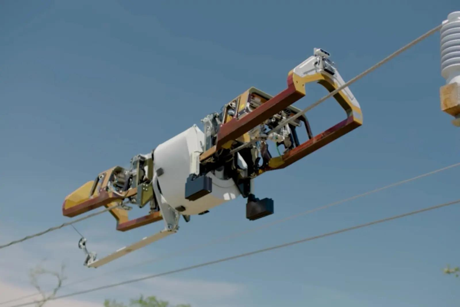 facebook fiber cable laying robot wrapping cable around an overhead power cable