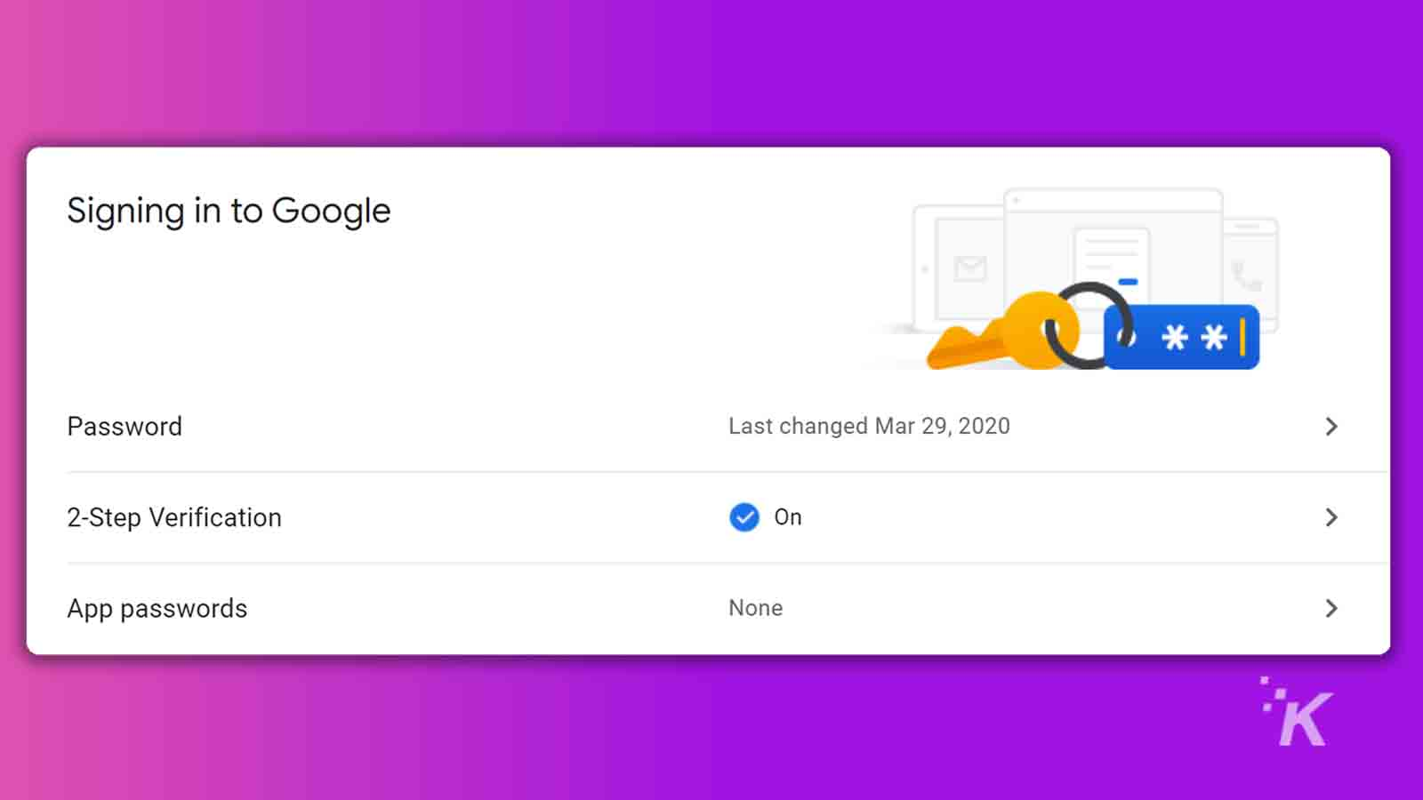 google 2fa setting