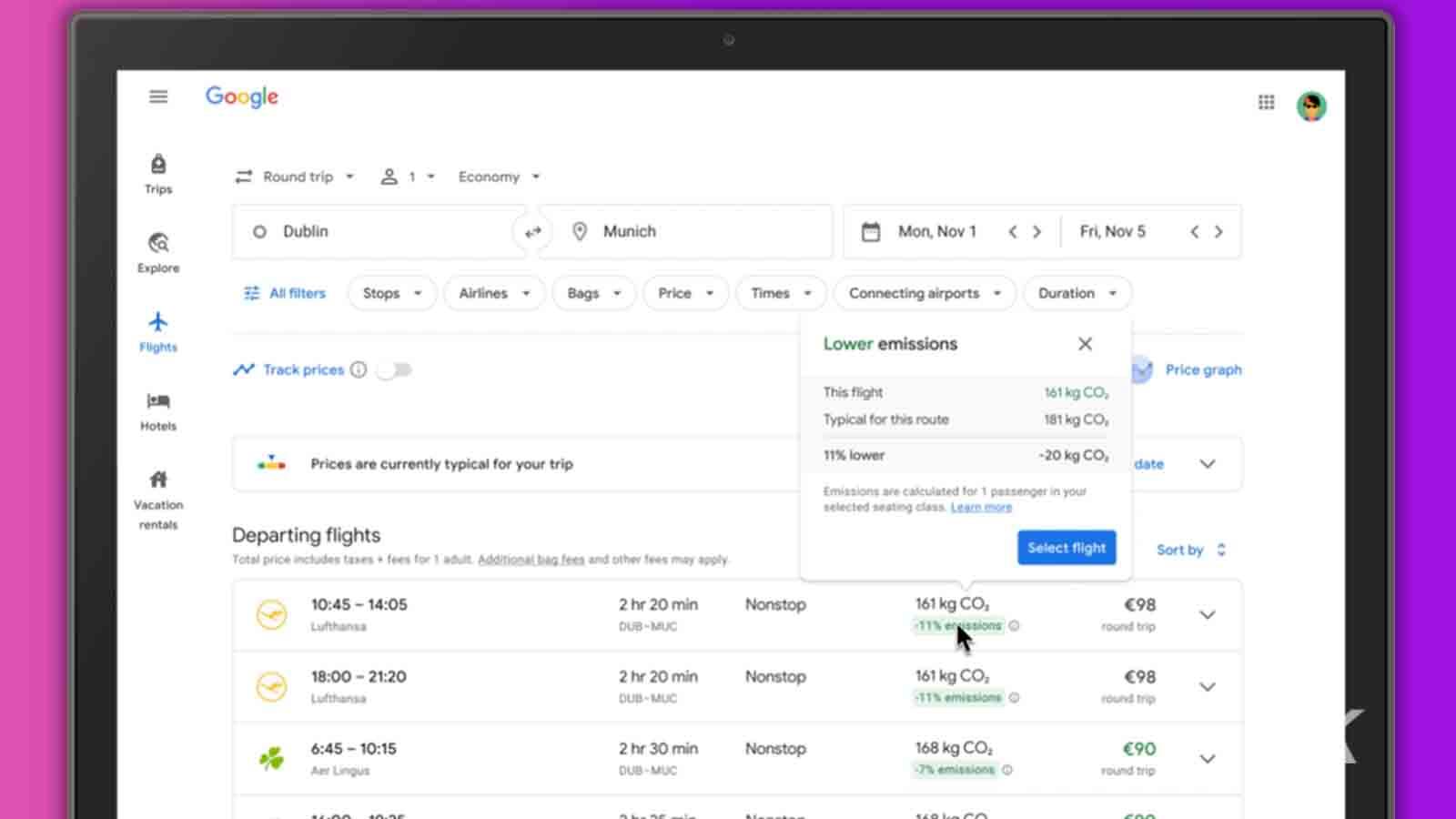 google flights eco information