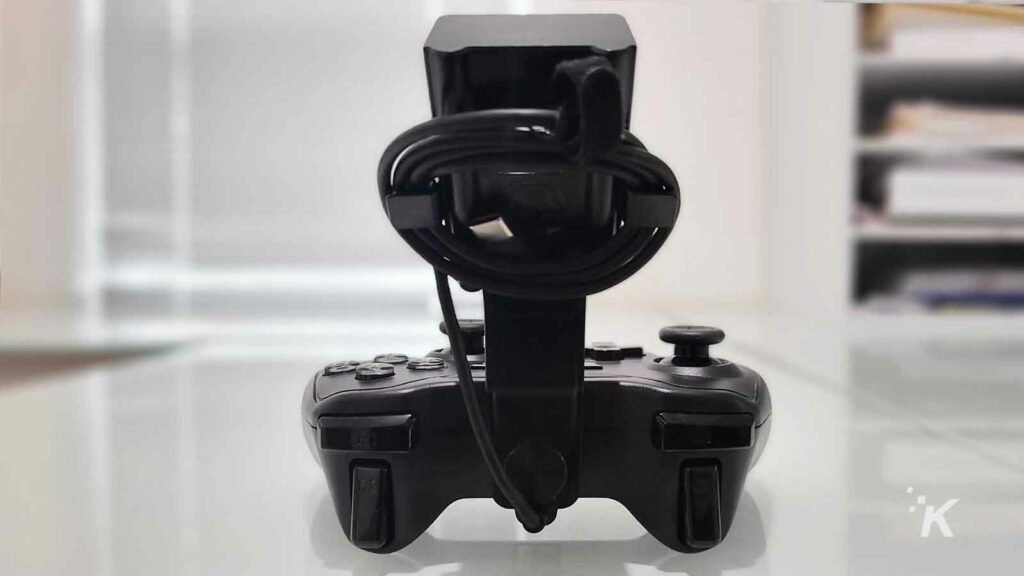 back of mobile controller on table
