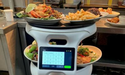servi robot carrying orders at sergio's restaurant in florida