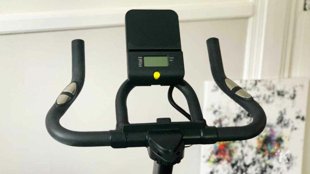 Handlebars on the exercise bike