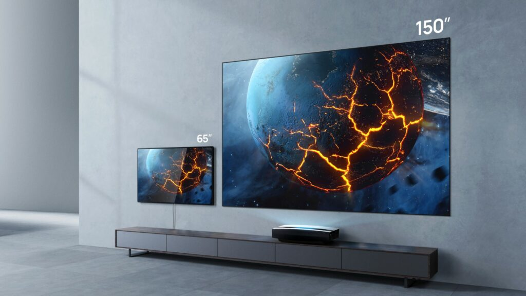 xgimi aura short throw projector showing it projecting a 150 inch screen
