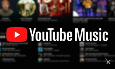 youtube music logo with blurred background